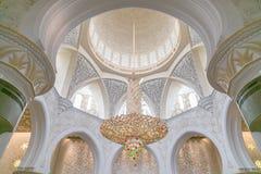 Sheikh Zayed Grand Mosque dome. Chandelier inside Sheikh Zayed Grand Mosque Royalty Free Stock Photography