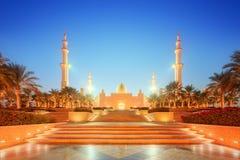 Sheikh Zayed Grand Mosque at dusk, Abu-Dhabi Stock Photo