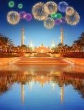 Sheikh Zayed Grand Mosque en la oscuridad, Abu Dhabi Imagenes de archivo