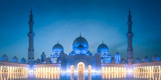Sheikh Zayed Grand Mosque at evening Abu Dhabi. View of Sheikh Zayed Grand Mosque during evening time, Abu Dhabi, UAE stock images