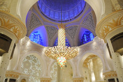 Sheikh Zayed Grand Mosque. Interior of the Sheikh Zayed Grand Mosque with crystal chandelier in Abu Dhabi, UAE Stock Image
