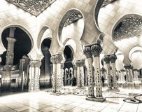 Sheikh Zayed Grand Mosque interior at night, Abu Dhabi - UAE stock images