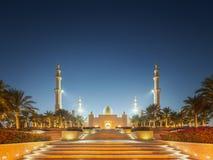 Sheikh Zayed Grand Mosque no por do sol Abu Dhabi, UAE imagens de stock royalty free