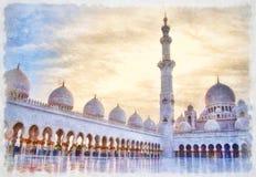 Sheikh Zayed Grand Mosque no por do sol, pintura da aquarela ilustração royalty free