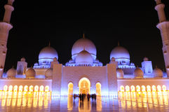 Sheikh Zayed Grand Mosque. Outside the Sheikh Zayed Grand Mosque at night in Abu Dhabi, UAE Royalty Free Stock Photos
