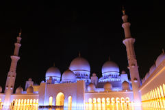 Sheikh Zayed Grand Mosque. Outside the Sheikh Zayed Grand Mosque at night in Abu Dhabi, UAE Royalty Free Stock Photo