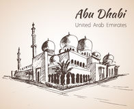 Sheikh Zayed Grand Mosque sketch - UAE.  on white backgr Royalty Free Stock Images