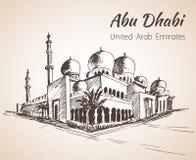 Sheikh Zayed Grand Mosque skissar - UAE på vit backgr Royaltyfria Bilder