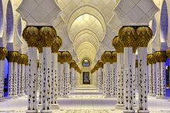 Sheikh zayed mosque. This is the sheikh zayed mosque that was build in his memory in Abu Dubai in United arab emirates Stock Photos