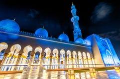 Sheikh Zayed Mosque in Abu Dhabi nachts, UAE Stockfotografie