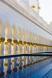 Sheikh Zayed Mosque, Abu Dhabi, Pillars Reflecting In Pool, Architecture Of Grand Mosque Abu Dhabi Stock Photos