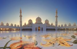 Sheikh Zayed Mosque, Abu Dhabi, UAE. Grand Mosque in Abu Dhabi in the evening. Panorama of exterior of Sheikh Zayed Mosque stock photography