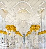 Sheikh Zayed Mosque, Abu Dhabi, United Arab Emirates. Sheikh Zayed Mosque columns , Abu Dhabi, United Arab Emirates Royalty Free Stock Image