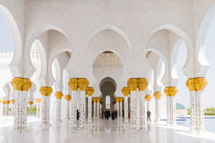 Sheikh Zayed Mosque Corridor with Arabic Geometry Decoration, The Great Marble Grand Mosque at Abu Dhabi, UAE Royalty Free Stock Image