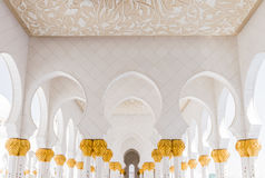 Sheikh Zayed Mosque Corridor with Arabic Geometry Decoration, The Great Marble Grand Mosque at Abu Dhabi, UAE Stock Photography