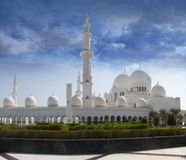 Sheikh Zayed Mosque front view. Front view of sheikh zayed mosque in Abu Dhabi. The third biggest mosque in the world Stock Photo