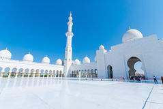 Sheikh Zayed Mosque. Inner yard of the Sheikh Zayed Mosque near the city centre of Abu Dhabi, United Arab Emirates stock image