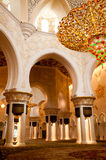 Sheikh Zayed mosque inside Royalty Free Stock Photos