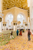 Sheikh Zayed Mosque Interior with Arabic Geometry Decoration, The Great Marble Grand Mosque at Abu Dhabi, UAE Stock Photography