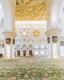 Sheikh Zayed Mosque Interior with Arabic Geometry Decoration, The Great Marble Grand Mosque at Abu Dhabi, UAE Royalty Free Stock Photo