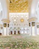 Sheikh Zayed Mosque Interior mit arabischer Geometrie-Dekoration, die große großartige Marmorierungmoschee bei Abu Dhabi, UAE Lizenzfreies Stockfoto