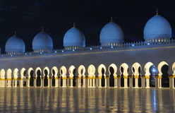 Sheikh Zayed Mosque at night Stock Images