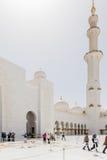 Sheikh Zayed Mosque Right Wing View från insidan, den storslagna moskén för stor marmor på Abu Dhabi, UAE arkivfoto