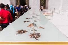 Sheikh Zayed Mosque Shoes Rack with Flowers Pattern Decorated, The Great Marble Grand Mosque at Abu Dhabi, UAE Stock Photography