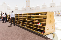 Sheikh Zayed Mosque Shoes Rack, The Great Marble Grand Mosque at Abu Dhabi, UAE Royalty Free Stock Photography