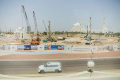 Sheikh Zayed Mosque with Surrounding Site, The Great Marble Grand Mosque at Abu Dhabi, UAE Royalty Free Stock Photography