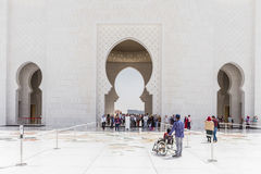 Sheikh Zayed Mosque View Entrance from the Inside, The Great Marble Grand Mosque at Abu Dhabi, UAE Stock Photography