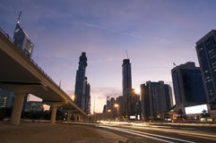Sheikh zayed road. Picture of sheikh zayed road at night in dubai Stock Image