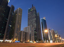 Sheikh zayed road. Picture of sheikh zayed road at night in dubai Royalty Free Stock Photos