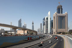 Sheikh Zayed Road in Dubai Royalty Free Stock Photos