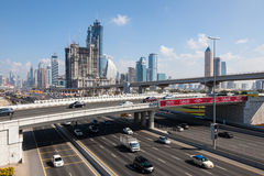 Sheikh Zayed Road in Dubai City Stock Images