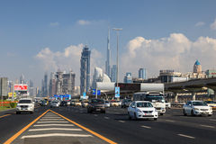 Sheikh Zayed Road in Dubai City Royalty Free Stock Image