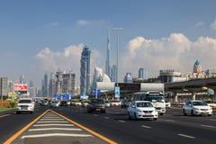 Sheikh Zayed Road in Dubai City Royalty Free Stock Image