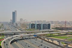 Sheikh Zayed Road in Dubai City Stock Photos