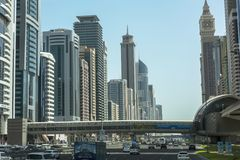 Down town Dubai. SHEIKH ZAYED ROAD,DUBAI, UAE-16TH AUG 2015:-Dubai main thouroughfare is Sheikh Zayed Road Royalty Free Stock Image
