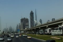 Down town Dubai. SHEIKH ZAYED ROAD,DUBAI, UAE-16TH AUG 2015:-Dubai main thouroughfare is Sheikh Zayed Road Stock Photo