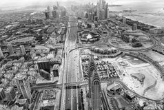 Sheikh Zayed road in the middle of Dubai skyscrapers Stock Images