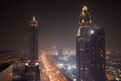 Sheikh Zayed Road at Night stock photo