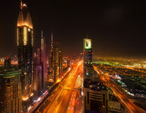Sheikh Zayed Road by night, Dubai Royalty Free Stock Photo