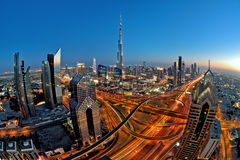 Sheikh Zayed road skyline Royalty Free Stock Image