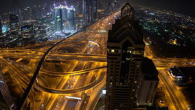 Sheikh Zayed Road with skyscrapers at dusk Dubai stock footage