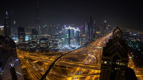 Sheikh Zayed Road with skyscrapers at dusk stock footage
