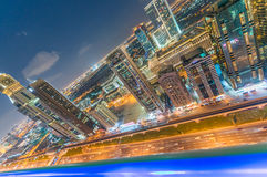 Sheikh Zayed Road at sunset. Dubai magnificent skyline Royalty Free Stock Photos