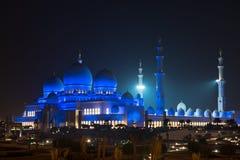 Sheikh Zayed White Mosque in Abu Dhabi nachts Stockfotografie
