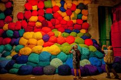 Sheila-Hicks-bale-of-fiber-and-tissues. Stock Images
