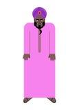 Shejk i nationell arabisk ämbetsdräkt och turban Vektorillustration av Royaltyfri Bild